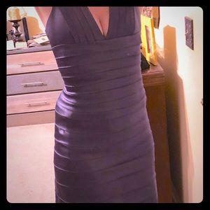 BCBGMaxazria plum satin formal long dress